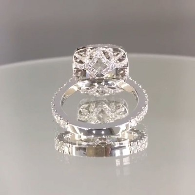 Tinnivi Cushion Cut White Sapphire 925 Sterling Silver Halo Engagement Ring