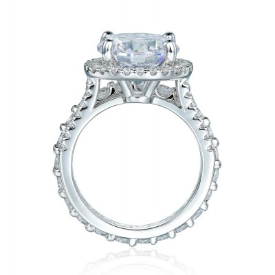 Tinnivi Sparkling Round Cut White Sapphire 925 Sterling Silver Engagement Ring