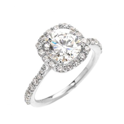 Round Cut White Sapphire 925 Sterling Silver Prong Engagement Ring