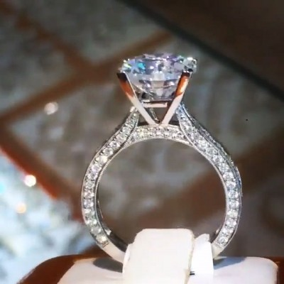 Vintage Round Cut White Sapphire 925 Sterling Silver Engagement Ring