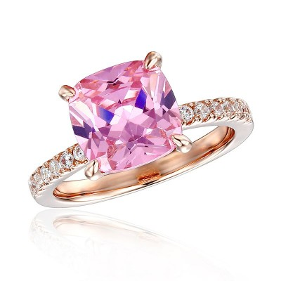 Cushion Cut Pink Sapphire 925 Sterling Silver Halo Engagement Ring with Rose Gold