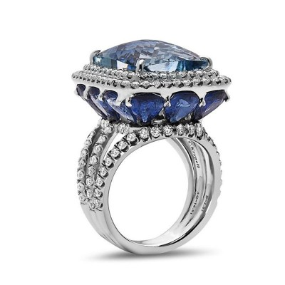 Cushion Cut Blue Sapphire 925 Sterling Silver Engagement Ring