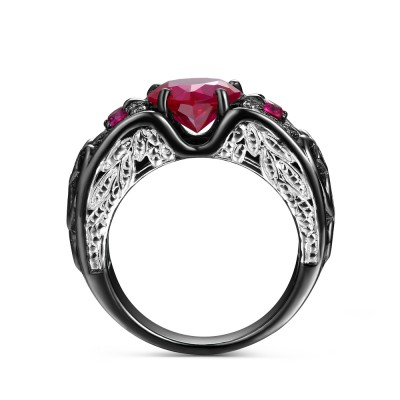 Heart Cut Ruby 925 Sterling Silver Angel Wing Engagement Ring