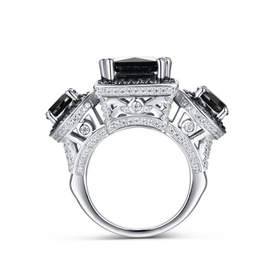 Tinnivi Sterling Silver Created Black Diamond Halo 3 Stone Princess Center Engagement Ring