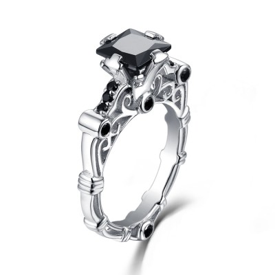 Princess Cut Sterling Silver Created Black Diamond Engagement Ring