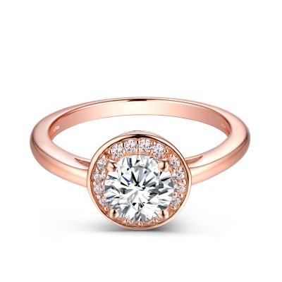 Unique Round Cut 925 Sterling Created White Sapphire Rose Gold Engagement Ring