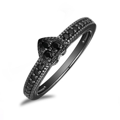 Heart Cut 925 Sterling Silver Created Black Diamond Engagement Ring