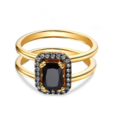 Emerald Cut 925 Sterling Silver Created Black Diamond Yellow Gold Engagement Ring