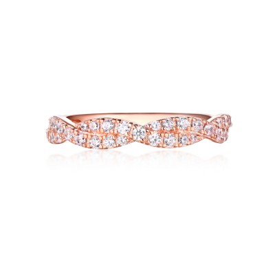 Tinnivi Rose Gold Sterling Silver Round Cut Created White Sapphire Women's Wedding Band