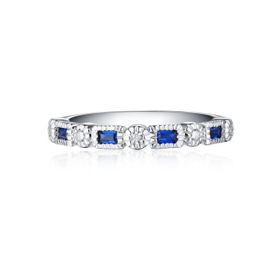Tinnivi Sterling Silver Created Diamond and Sapphire Wedding Ring Band