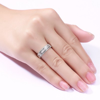 Tinnivi Vintage Style Sterling Silver Created White Sapphire Wedding Band