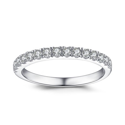 Simple Round Cut White Sapphire 925 Sterling Silver Women's Wedding Band