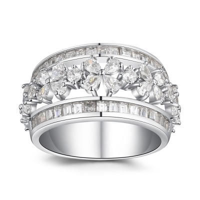 Silver Floral Pave Created White Sapphire Wedding Band