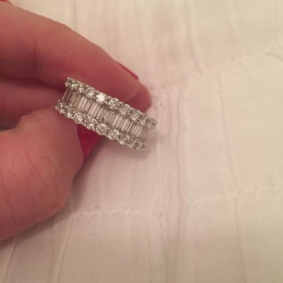 Stunning Baguette Cut White Sapphire 925 Sterling Silver Wedding Band