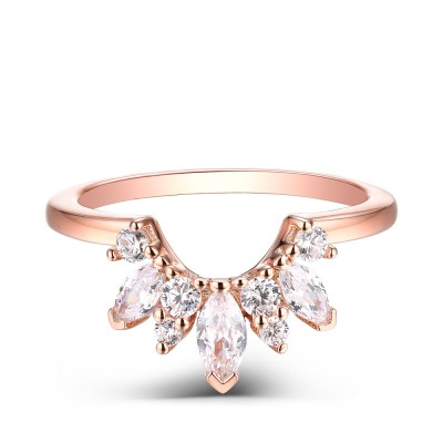 Marquise Cut 925 Sterling Silver Created White Sapphire Rose Gold Wedding Band