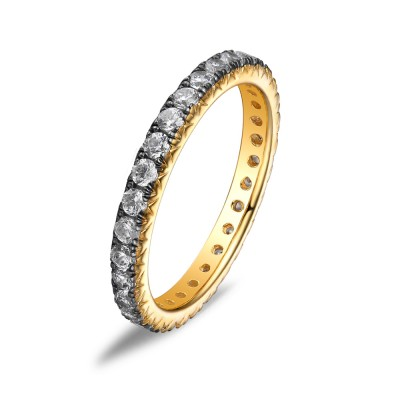 Unique Round Cut Sterling Silver Created White Sapphire Yellow Gold Wedding Band