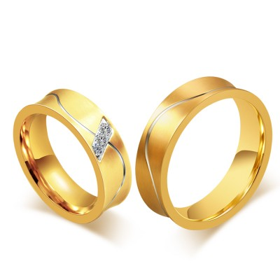 Elegant Gold Titanium Steel Gemstone Promise Ring for Couples