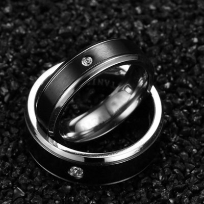 Black Titanium Steel Round Cut Gemston Promise Ring for Couples