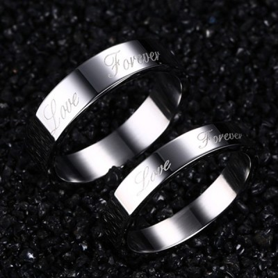 Love Forever Silver Titanium Steel Promise Ring for Couples