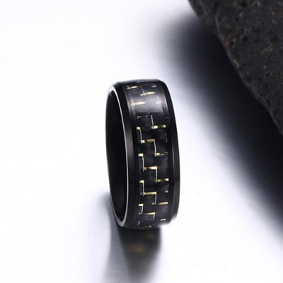 Gold Decoration Black Titanium Steel Men's Ring