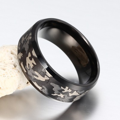 Fashion Pattern Black Titanium Steel Men's Ring