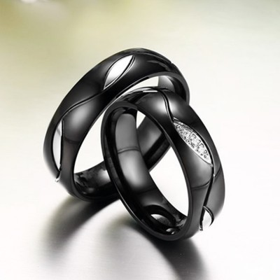 Unique Black Titanium Steel Couples Ring