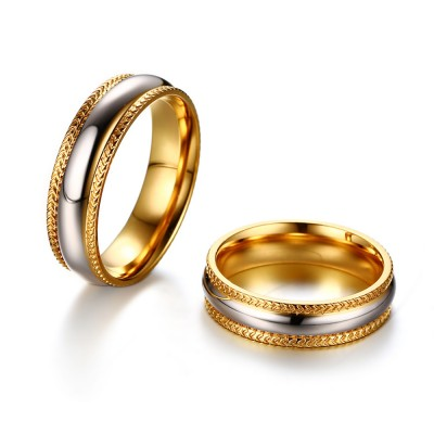 Gold and Silver Titanium Steel Couples Ring