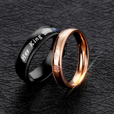Tinnivi Black Rose Gold Her King His Queen Titanium Steel Band For Couples