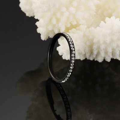 Tinnivi Black Pave Created White Sapphire Titanium Steel Band