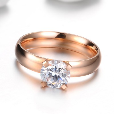 Tinnivi Rose Gold Round Cut Created White Sapphire Titanium Steel Womens Ring