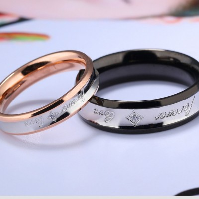 Tinnivi Black Rose Gold Forever Love Titanium Steel Band For Couples