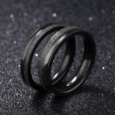 Tinnivi Cool Black Dull Polish Titanium Steel Band For Couples