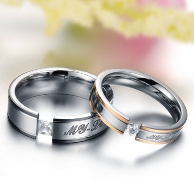 Tinnivi Silver Rose Gold My Love Titanium Steel Band For Couples