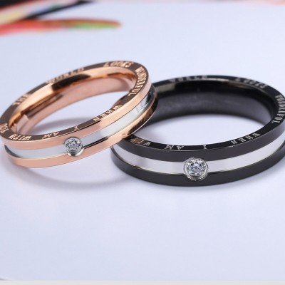 Tinnivi Black Rose Gold I Am With You Titanium Steel Band For Couples