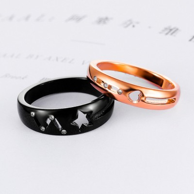 Tinnivi Black Rose Gold Hollow Out Star And Haert Titanium Steel Band For Couples