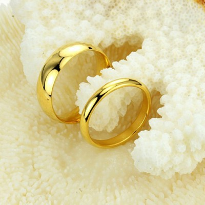 Tinnivi Gold Plated Polished Titanium Steel Couples Rings
