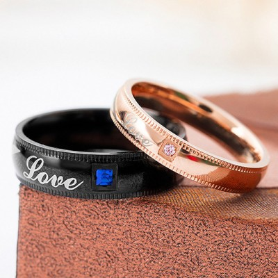 Tinnivi Black Rose Gold Love Heart Pattern Titanium Steel Couples Rings
