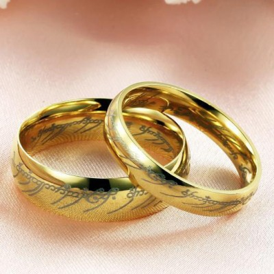 Tinnivi Gold Plated Titanium Steel Lord Rings For Couples