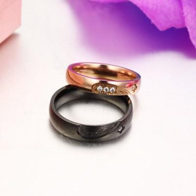 Tinnivi Black Rose Gold Heart Created White Sapphire Titanium Steel Couples Rings