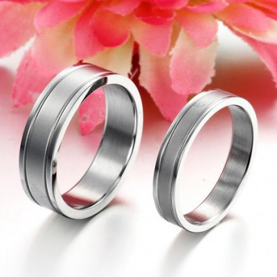Tinnivi Simple Silver Color Titanium Steel Couples Rings