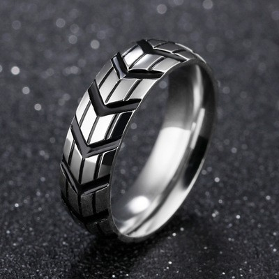Tinnivi Stylish Titanium Steel Tire Print Designed Mens Band