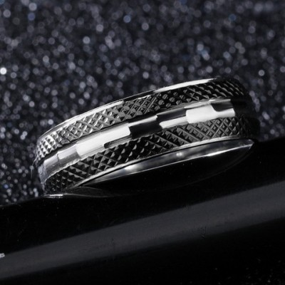 Tinnivi Fashion Black Silver Line Titanium Steel Mens Band