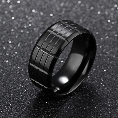 Tinnivi Fashion Black Titanium Steel Mens Band