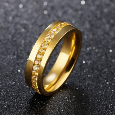 Tinnivi Gold Plated Titanium Steel Created White Sapphire Mens Band