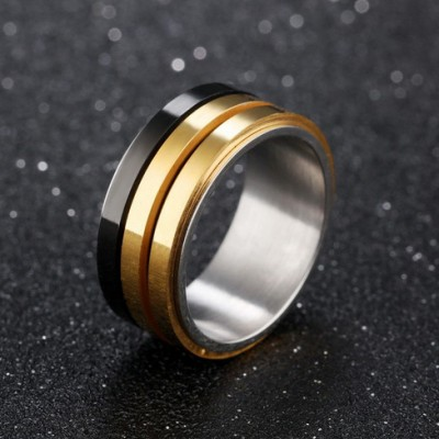 Tinnivi Black Gold Polished Titanium Steel Mens Band