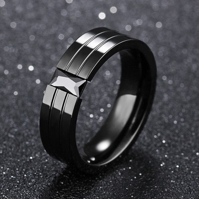 Tinnivi Stylish Created Black Diamond Titanium Steel Mens Band