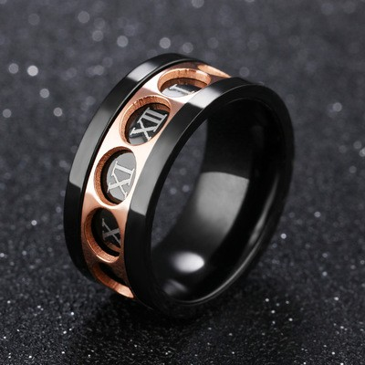 Tinnivi Black Rose Gold Roman Numeral Titanium Steel Mens Band