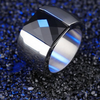 Tinnivi Silver Titanium Steel Created Black Diamond Titanium Steel Mens Band