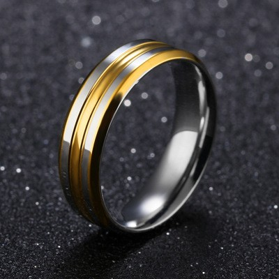 Tinnivi Stylish Gold Silver Titanium Steel Mens Band
