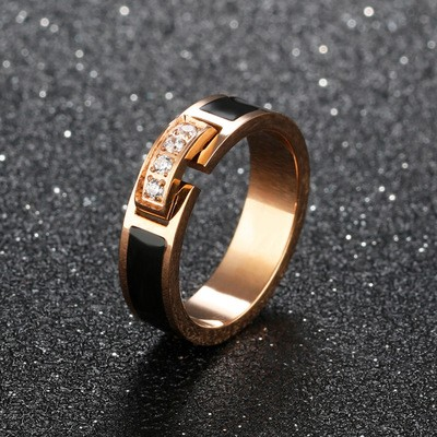 Tinnivi Black Rose Gold Titanium Steel With Created White Sapphire Womens Band